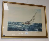 Montague Dawson, limited edition print, 'The Winning Tack', signed in pencil, overall 56 x 79cm