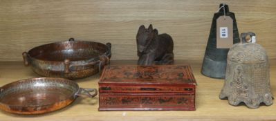 Mixed Asian artefacts including a wooden carving of a horse, copper dish, etc.