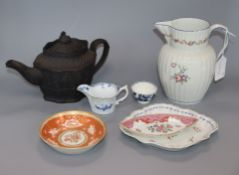 A collection of English and European ceramics to include a Caughley tea bowl