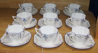 A Shelley's 1930's 'Blue Iris' pattern Queen Anne style part tea service comprising nine cups and