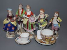 A pair of Samson figures of a couple, three small Thuringien figures and two miniature cups and