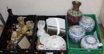 A cloisonne vase, mixed ceramics etc