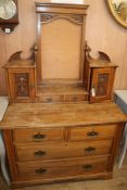 A late Victorian walnut dressing chest W.107cm