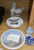 Royal Copenhagen ducks and various dishes, bowls and plates