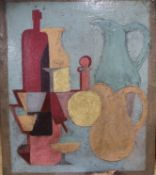 After Braques, oil on canvas, Cubist style still life, the reverse with a partial portrait a nude