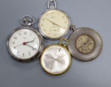 A continental engine turned silver dress pocket watch and three others including Smiths, Cortebert &