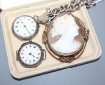 A silver fob watch, a silver wrist watch, a silver curblink bracelet and a cameo brooch.