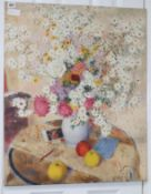 Gordon Scott (1914-2016) oil on canvas, Still life of fruit and a vase of flowers, unsigned, 75 x