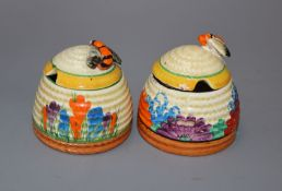 Two Clarice Cliff preserve jars