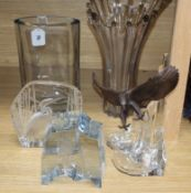 Two signed art glass vases, two bird glass ornaments and a German eagle on a glass rock (5)