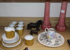 A Susie Cooper coffee set, two Homemaker plates etc