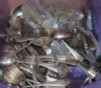 A quantity of Victorian and later silver-plated flatware