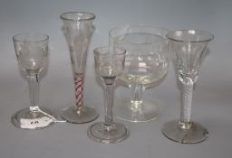 An 18th/19th century and later cordial glasses and later rummer