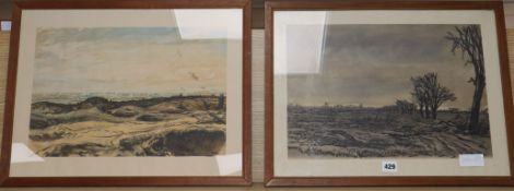 After Muirhead Bone, two lithographs, 'The Untitled Fields' and 'The Fight For Lens from Notre