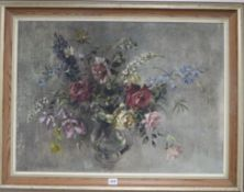 Barbara Crowe, oil on canvas board, Roses and summer flowers, Frost & Reed label verso, 55 x 75cm