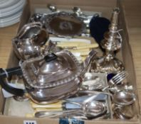 A set of six Victorian silver teaspoons, a three-piece matched silver condiment set and sundry