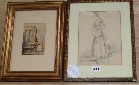 G.R. Russell, watercolour, Figures at a shop before ruins, signed, 12.5 x 8.5cm and E* G*, pencil