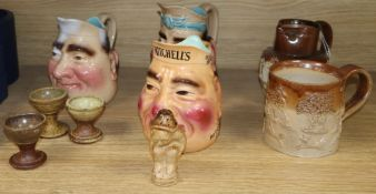 A Mitchell's advertising toby jug, two others, stoneware jug and mug etc (9)