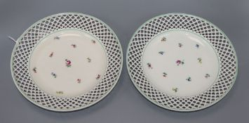 Two 19th century Vienna porcelain plates underglaze blue shield marks and impressed date marks