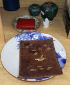 A Chinese famille rose dish, two turquoise jars, a Japanese dish etc