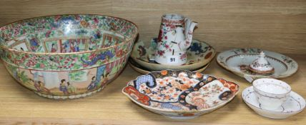 A Chinese famille rose punch bowl and assorted Chinese and Japanese ceramics and earthenware bowl