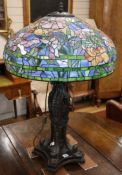 A large Tiffany style bronze and stained glass table lamp height approx. 90cm
