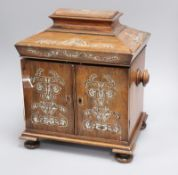 A Victorian mother of pearl inlaid rosewood work box
