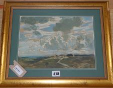 Attributed to Joseph Alfred Terry RBA (1872-1939), landscape, oil on paper 22cm x 30cm