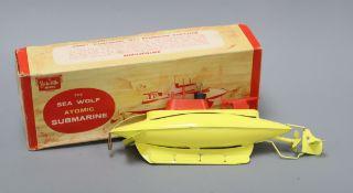 A Sutcliffe sea wolf submarine model, boxed