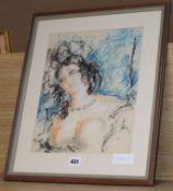 Harold Hope Read (1881-1959) , pastels, 'Portrait of Hilda', 33 x 26cm