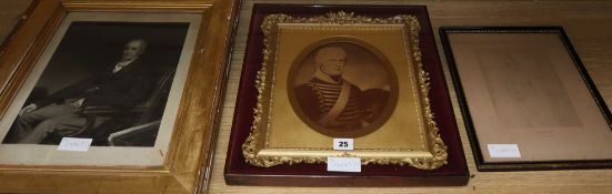 A Victorian gilt metal framed portrait print of Major John Werge, and two others of John Clark and