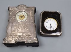 A plated Goliath pocket watch in faux tortoiseshell and silver-mounted leather easel case and a