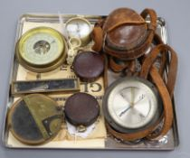 A Cruchon & Emons WWI pocket compass, 1916, in leather case and seven other items, including a small
