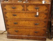 A Victorian stencilled pine chest W.105cm