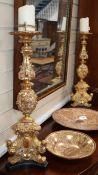 A pair of Renaissance style gilt pricket candlesticks