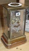 A French brass four glass clock (a.f.)