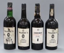 One bottle of Sandeman Port, 1963 and three bottles of Warres, 1963 (4)