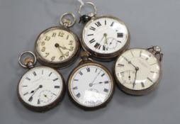 Three assorted silver pocket watches including Josh. Ainsworth, Blackburn and two other pocket
