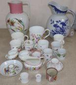 A group of Coalport cups and tankards, Victorian tea wares, etc.