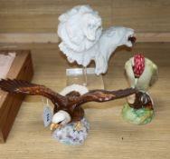 A Royal Doulton 'Art is Life' limited edition group of a lion and lioness, with stand, a Beswick