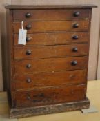 A Victorian pine collector's chest W.44cm
