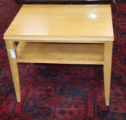 A pair of Ethan Allen beech two tier occasional tables W.70cm
