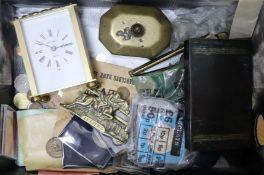 Assorted curios, including coinage, a Regency tobacco box, a carriage timepiece etc.