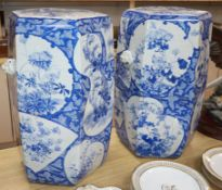 A pair of Japanese blue and white garden seats height 54cm