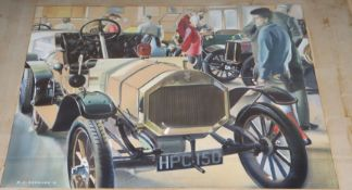 Peter J Ashmore (20th century), watercolour, illustration of a vintage car, signed and dated '61, 30