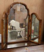 A Queen Ann style walnut triple dressing table mirror H.66cm
