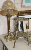 A brass Corinthian column table lamp and a brass two tier stand