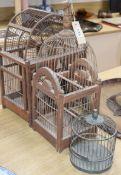 Three vintage Spanish wood and wirework bird cages