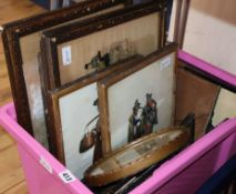 A small watercolour attributed to Skinner Prout, a quantity of prints, including costume and Dr