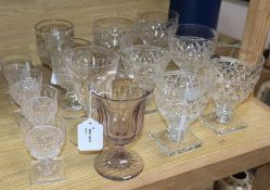 A collection of drinking glasses, 19th century and later, including a set of six cut glass rummers